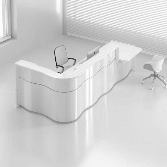 Wave LUV48L Reception Desk, High Gloss White photo