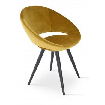 Crescent Star Chair, Black Powder Finish, Gold Velvet by SohoConcept Furniture