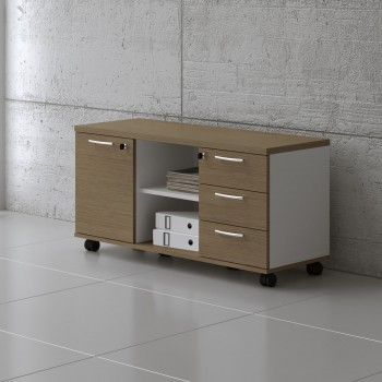 Managerial Storage A120MP, White + Canadian Oak
