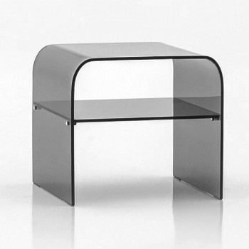 Anemone Side Table with Grey Glass Shelf, Grey Transparent