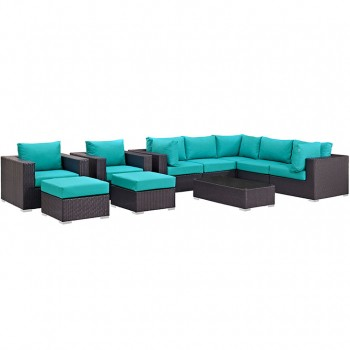 Convene 10 Piece Outdoor Patio Sectional Set, Espresso, Turquoise by Modway