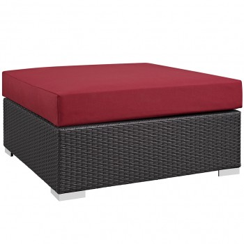 Convene Outdoor Patio Large Square Ottoman, Espresso, Red by Modway