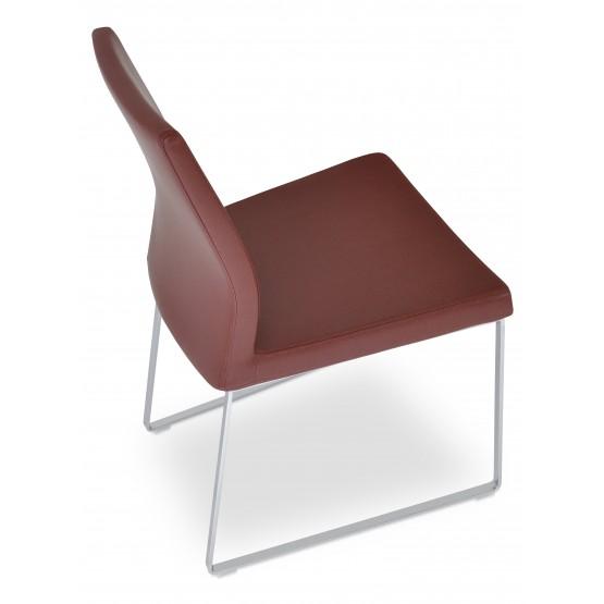 Pasha Sled Dining Chair, Chrome, Chesnut PPM photo