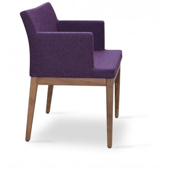 Soho Wood Arm Chair, American Walnut, Deep Maroon Camira Wool photo