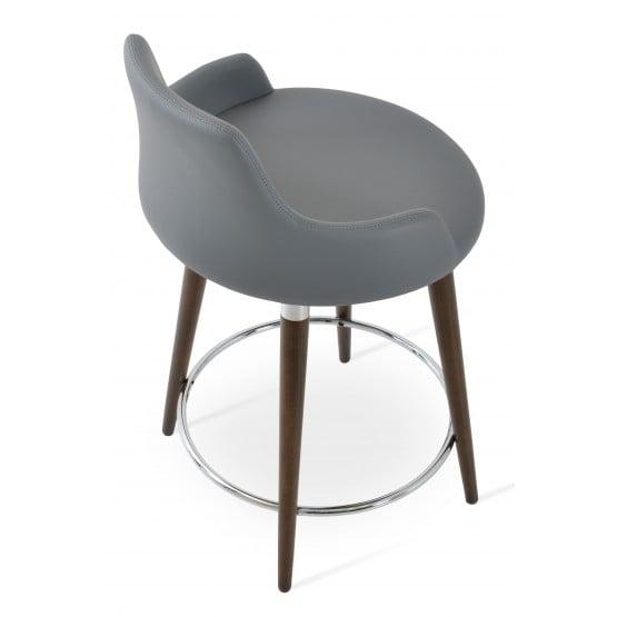 Dervish Wood Bar Stool, Solid Beech Walnut Color, Grey Leatherette photo