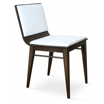 Corona Wood Dining Chair, Beech Wenge Finish, White Leatherette, Extra Pad by SohoConcept Furniture