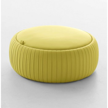 Plisse Medium Pouf, Mustard Yellow Eco-Leather