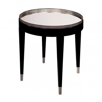 Black Tie Table In Black With Chrome And Clear Mirror Top
