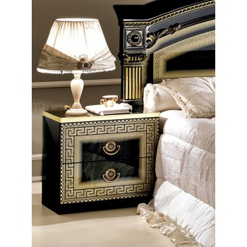 Aida Nightstand, Black + Gold