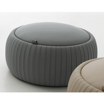 Plisse Small Pouf, Ash Grey Eco-Leather
