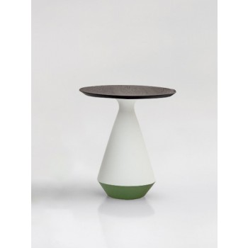 Amira Side Table, Matt White and Green Sage Ceramic Base, Heat-Treated Dark Oak Wood Top