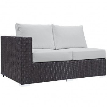 Convene Outdoor Patio Left Arm Loveseat, Espresso, White by Modway