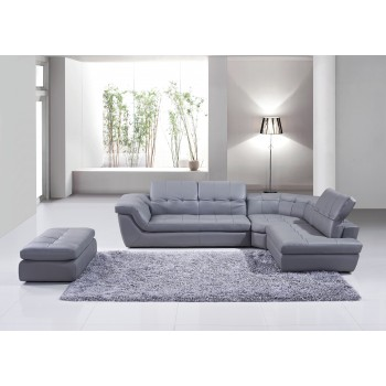 397 Italian Leather Sectional, Right Arm Chaise Facing, Grey by J&M Furniture