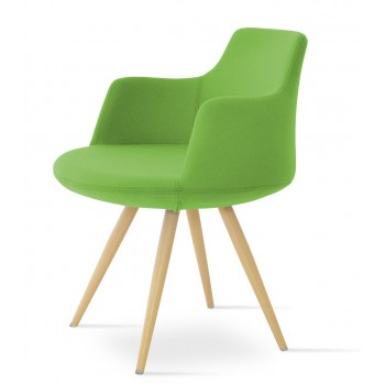 Dervish Star Chair, Natural Veneer Steel, Pistachio Camira Wool by SohoConcept Furniture