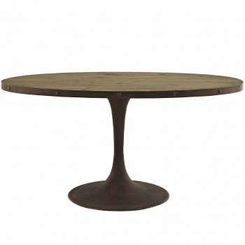 "Drive 60"" Oval Wood Top Dining Table, Brown by Modway"