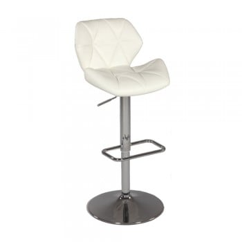 0645 Pneumatic Gas Lift Swivel Height Stool, White by Chintaly Imports