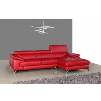 A973B Italian Leather Mini Sectional, Right Arm Chaise Facing, Red by J&M Furniture