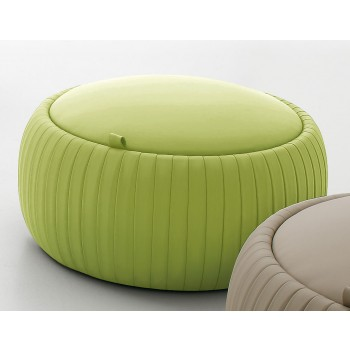 Plisse Small Pouf, Olive Green Eco-Leather
