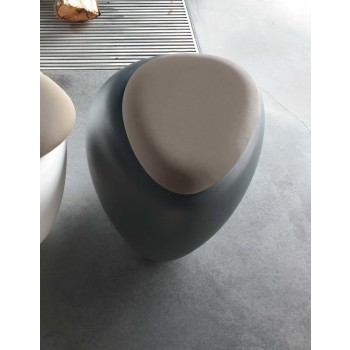 Ios Pouf, Anthracite Polyethylene Base, Mud Orchidea Fabric