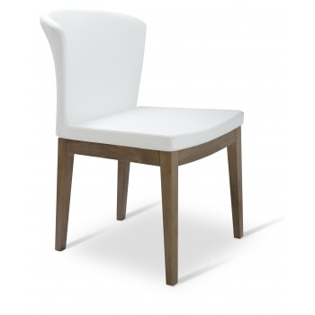Capri Wood Dininng Chair, Solid Beech Walnut Color, White PPM by SohoConcept Furniture