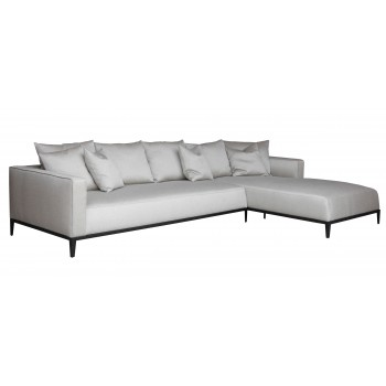 California Sectional, Large, Right Arm Chaise, Black Base, Grey Brick Fabric by SohoConcept Furniture