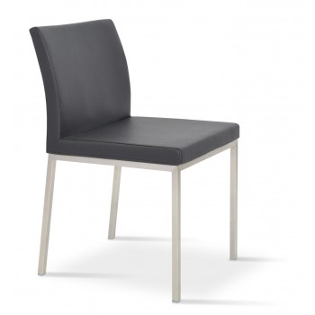 Aria Dininng Chair, Stainless Steel Base, Black Genuine Leather by SohoConcept Furniture