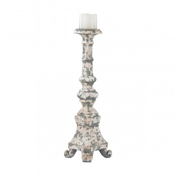 Aged Plaster Candel Holder - Tall