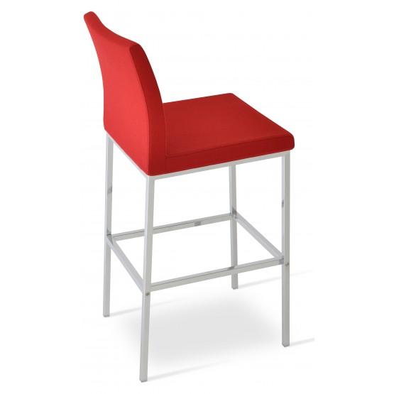Aria Chrome Bar Stool, Red Camira Wool photo