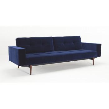 Splitback Sofa Bed w/Arms, 865 Vintage Velvet Blue + Dark Wood Legs
