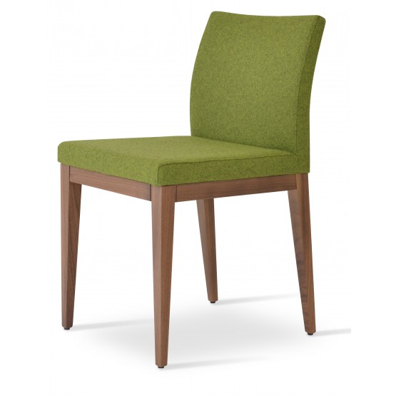 Aria Wood Dining Chair, American Walnut Wood, Green Forest Camira Wool photo