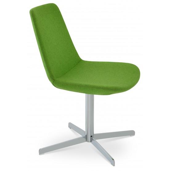 Eiffel 4 Star Swivel Chair, Chrome, Pistachio Camira Wool photo