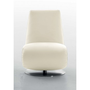 Ricciolo Chaise Lounge, Cream Leather