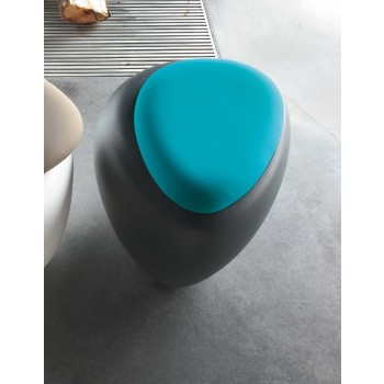 Ios Pouf, Anthracite Polyethylene Base, Turquoise Blue Orchidea Fabric