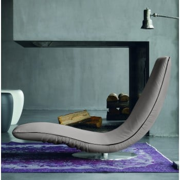 Ricciolo Chaise Lounge, Light Grey Eco-Leather