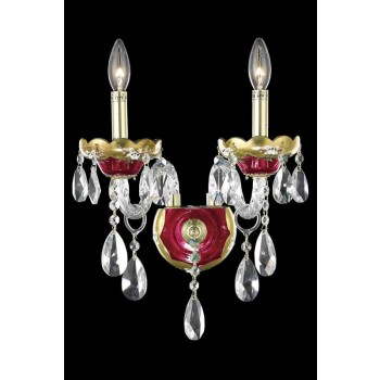 "Alexandria 2-Light 12"" Gold and Red Wall Sconce in Swarovski Strass"