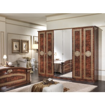 Alexandra 6-Door Wardrobe w/Mirror, Walnut