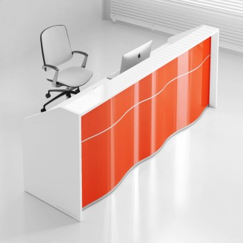 Wave LUV18 Reception Desk, High Gloss Orange