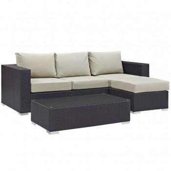 Convene 3 Piece Outdoor Patio Sofa Set, Espresso, Beige by Modway