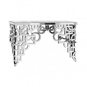 Modern MF-3002C Console Table, Silver + Clear Mirror
