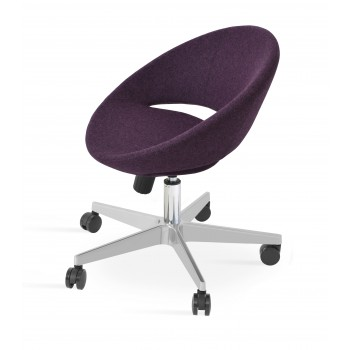 Crescent Office Chair, Base A2, Deep Maroon Camira Wool by SohoConcept Furniture