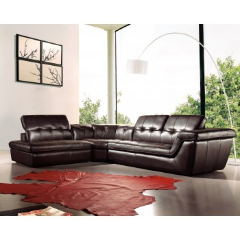 397 Italian Leather Sectional, Left Arm Chaise Facing, Chocolate by J&M Furniture