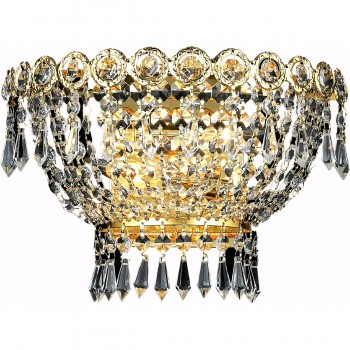 """Century 2-Light 12"""" Gold Wall Sconce in Royal Cut"""