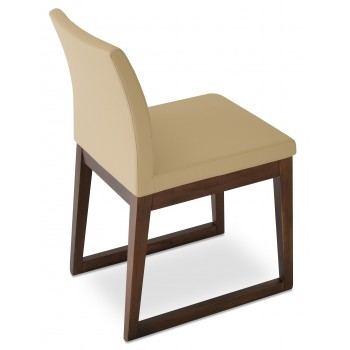 Aria Sled Wood Dininng Chair, Solid Beech Walnut Finish, Tan Leatherette by SohoConcept Furniture