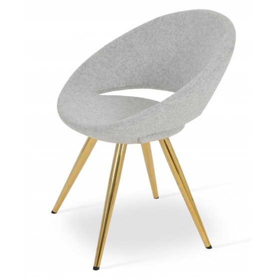 Crescent Star Chair, Gold Brass, Silver Camira Wool, Large Seat photo