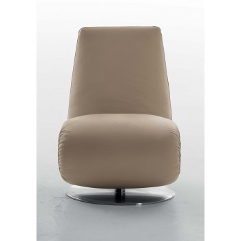 Ricciolo Chaise Lounge, Light Brown Leather