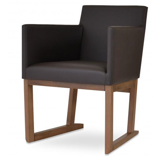 Harput Sled Wood Arm Chair, Solid Beech Walnut Finish, Brown Leatherette photo