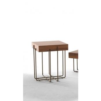 Cruz Side Table, Stone Bronze Metal Base, Canaletto Walnut Wood Top