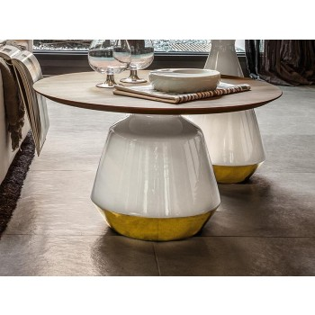 Amira Side Table, Glossy White and Gold Ceramic Base, Canaletto Walnut Wood Top