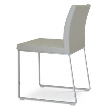 Aria Sled Dininng Chair, Light Grey Leatherette by SohoConcept Furniture