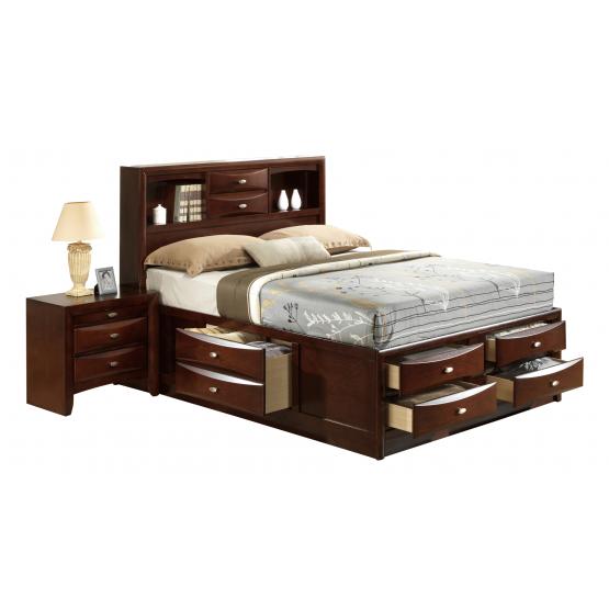 Linda Queen Size Bed, Merlot photo